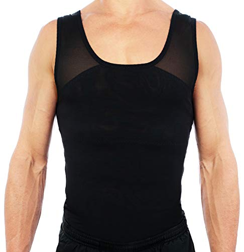 Esteem Apparel Original Men's Chest Compression Shirt to Hide Gynecomastia Moobs (Black, Medium) (Chest Workout To Get Rid Of Moobs)