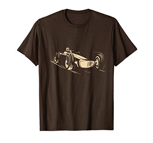 Mens Race Car T-Shirt Racing Sports Auto Racer Vintage Cool Tee 2XL Brown -