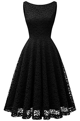 Bbonlinedress Women's Short Floral Lace Bridesmaid Dress V-Back Sleeveless Formal Cocktail Party Dress Black 2XL