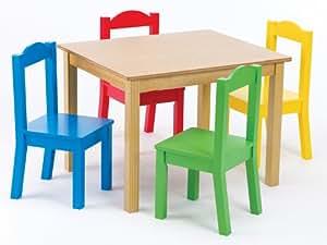 Tot Tutors Kids' Table and 4-Chair Set, Primary Wood