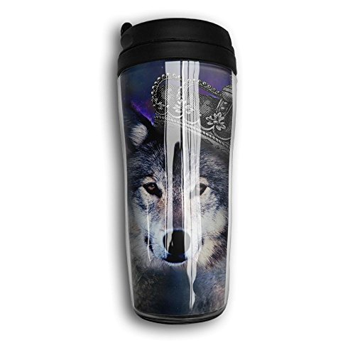 KKVO Arivnak Mexican Gray Wolf Portable Curved Coffee Cups 350ML Vacuum Insulated Thermal Mugs With Splash Proof Lid by KKVO Arivnak