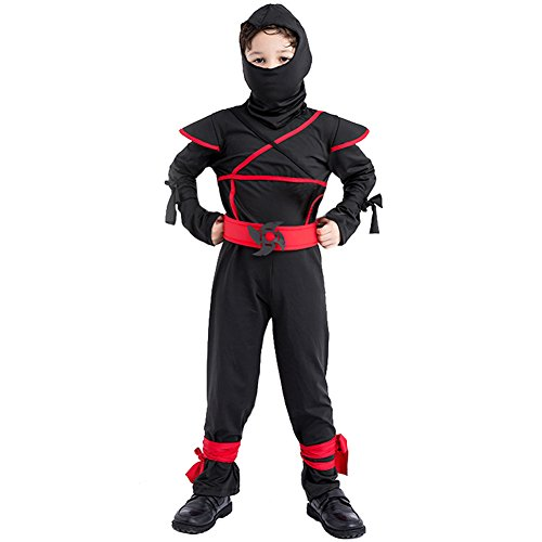 DREAMOWL Kids Ninja Avenger Costume Martial Arts Warrior Halloween Fancy Dress (3-4 Years)
