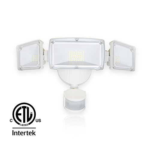 Barrina LED Security Motion Sensor Light Outdoor 39W (300W Incandescent Equivalent) 4000lm 6000K (Super Bright White) IP65 Waterproof Flood Light with 3 Adjustable Head, ETL Listed