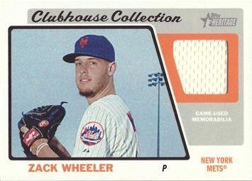 2015 Topps Heritage Clubhouse Collection Relics #CCR-ZW Zack Wheeler Game Worn Jersey Baseball Card - Near Mint to Mint