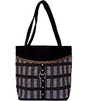 Womaniya Jute And Canvas Women's Handbag - Black (Woman-1044)