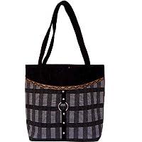 Womaniya Jute And Canvas Women's Handbag - Black (Woman-1044)