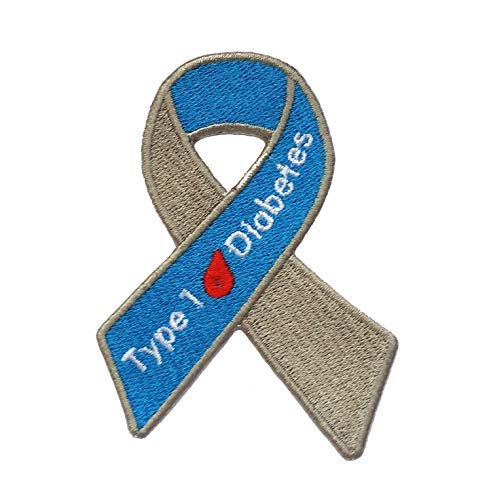 Type 1 Diabetes Awareness Ribbon Embroidered Iron On Patch InspireMe Family Owned (2.5
