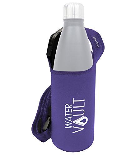 WaterVault Neoprene Bottle Holder, Adjustable Detachable Strap, Shoulder Sling & Hand Carrier - Purple Regular
