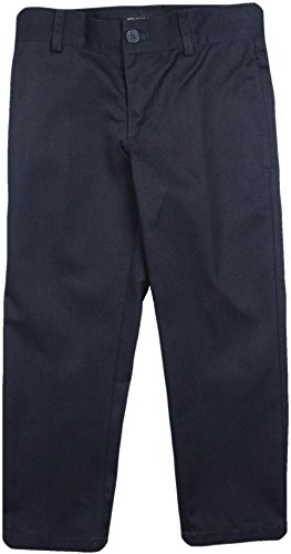 - Armando Martillo Boys Brushed Cotton Flat Front Adjustable Waist Pants - Navy, 14 Husky Slim