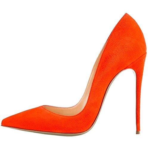 Mujer Wildleder de Orange Naranja EKS Zapatos Tacón HxFW70q