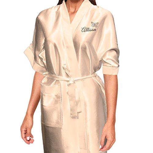 argento e design Inspired Vestaglia sposa di personalizzabile dettagli con Per o Design farfalla Creative raso di kimono damigella P8qOpwP