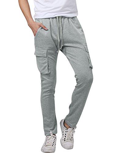 Flap Pocket Trousers - Allegra K Men Drawstring Waist Flap Pockets Side Casual Trousers Light Grey W28