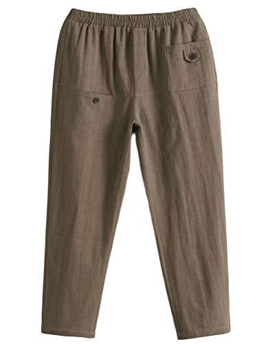 Minibee Women's Elastic Waist Casual Crop Linen Pull On Pants Amry Green XL (Best Capri Pants 2019)