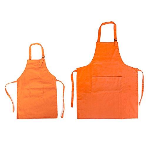 Opromo Colorful Cotton Canvas Kids Aprons with Pocket, Artist Apron & Chef Apron(S-XXL)-Orange Parent Child Set-M