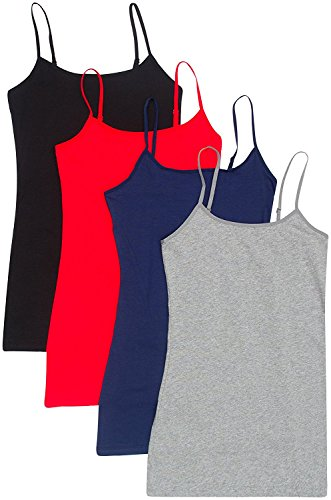 4 Pack Active Basic Women's Basic Tank Top (3X,Black/H Gray/Navy/Red)