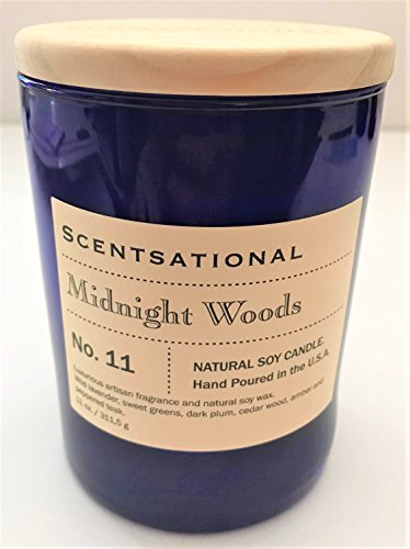 Scentsational Natural Soy Candle ''MIDNIGHT WOODS'' Fragrance in Royal Jar with Wooden Lid