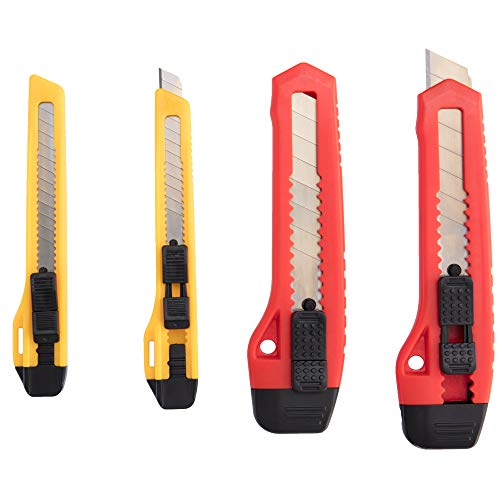 (ORIENTOOLS Utility Knife Box Cutter Razor Auto-lock 4-Pack Set, Retractable Box Cutter Snap Off Blades Knife, for Office, Home, Arts, Crafts, Red and Yellow)