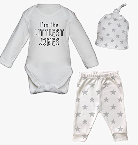 Personalised I'm the Littlest Surname Newborn Baby Vest Pants and Hat Set Babygrow New Baby Gifts Newborn baby Gifts Personalised Babywear Hospital Outfit Newborn