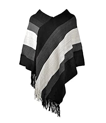 ZLYC Women Color Block Stripe Blanket Poncho Shawl Cape Wrap Scarf with Fringe, Black