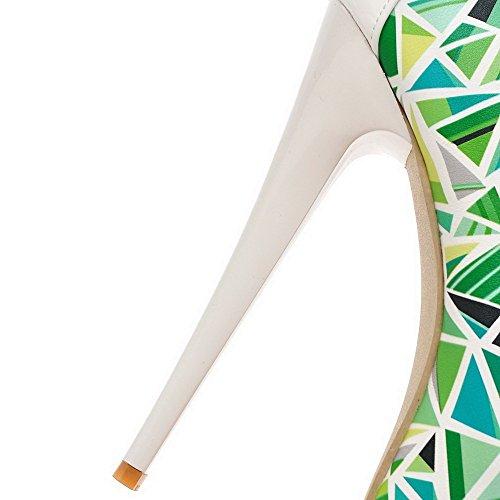 Amoonyfashion Donna Peep Open Toe Fibbia Pu Assortiti Tacchi Alti Scarpe-scarpe Blu