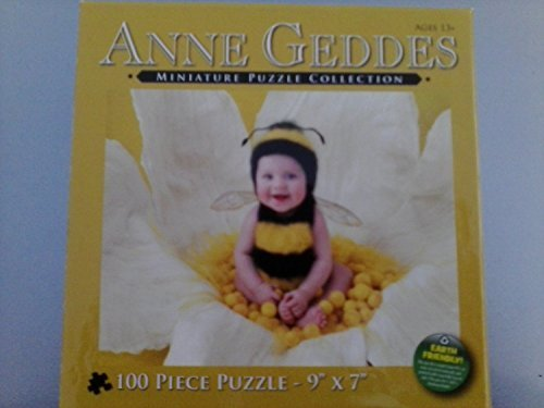 Anne Geddes Miniature Puzzle Collection 100 Pc 9 x 7 Puzzle - Baby in Bumble Bee Outfit Sitting on Flower by Anne Geddes - Anne Geddes Flower Collection