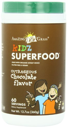 Amazing Grass Kidz SuperFood Powder Outrageous Chocolate Flavor 60 Servings 360-Gram Container