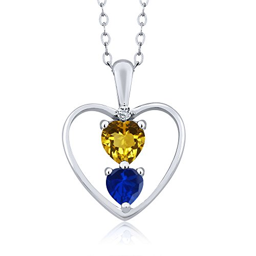 Necklace Citrine Topaz (0.84 Ct Heart Shape Yellow Citrine Blue Simulated Sapphire Silver Pendant)