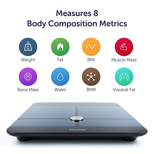 Azumio Bluetooth Digital Smart Scale for Body Weight   6mm Tempered Glass LED Display Measures Body Fat, Visceral, BMI, BMR, Muscle Mass, Bone Mass Water Weight in KG or LB   iOS & Android Compatible by Azumio (Image #2)