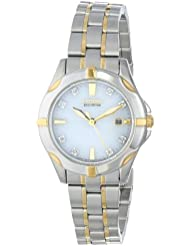 Citizen Eco-Drive Womens EW1934-59A Stainless Steel Two-Tone Watch with Diamonds