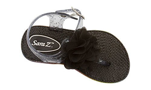 Sara Z Toddler Girl's Jelly Thong Slingback Flat Sandal with Chiffon Blossom with Flower 9/10 Black (Beaded Blossom)