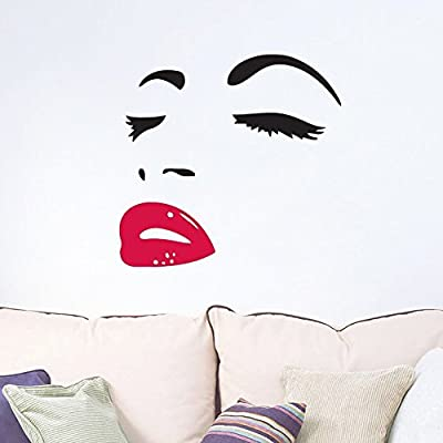 Women's Face Star Decor Face Red Lips Sticker Removable Wall Stickers Wall Decor Home Decor Wall Art Bedroom Living Room Sofa Tv Background DIY Art Decals