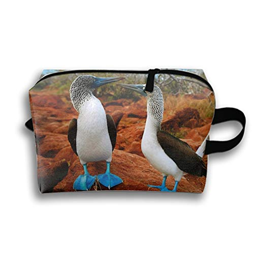 Blue Footed Birds Makeup Pouch Zipper Coin Organizer Costmetic Bag
