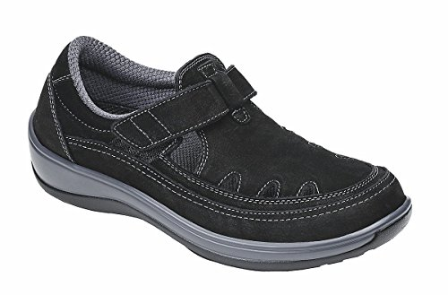 Orthofeet Serene Womens Comfort Orthopedic Wide Arthritis Diabetic T-Strap Shoes Black Leather 11 N US