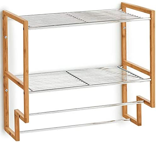 Zeller Bathroom Rack with Towel Holder, Bamboo/Metal, Silver, 50 x 28 x 46