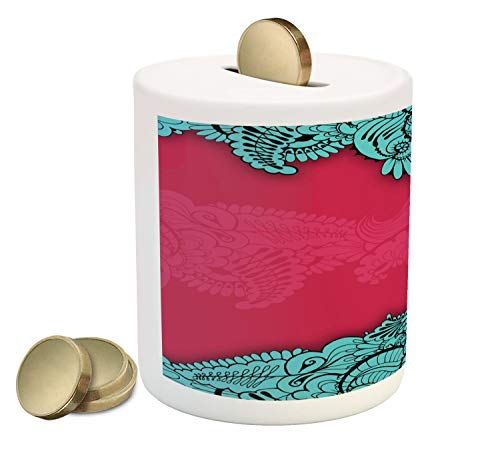 Lunarable Orient Piggy Bank, Oriental Paisley Ornamental East Culture Rococo Style Floral Designed Image, Printed Ceramic Coin Bank Money Box for Cash Saving, Magenta and Aqua