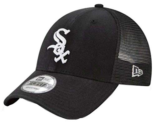 (Chicago White Sox New Era Trucker 9FORTY Adjustable Snapback Hat Black)
