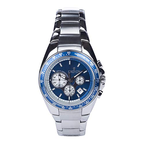 CROTON Men's Japanese-Automatic Watch with Stainless-Steel Strap, Silver, 24.45 (Model: - Steel Bracelet Croton Stainless
