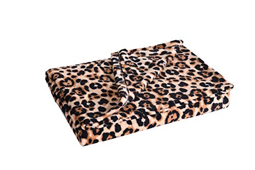 MarCielo Fleece Throw Blanket, 50 x 60 Inch Lap Fleece Blankets (Leopard)