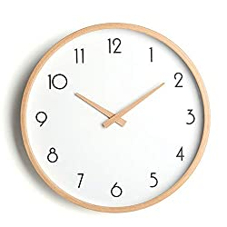 Reliable-E Wall Clock Wood 12 Large Wooden Wall Clocks Non Ticking (A)