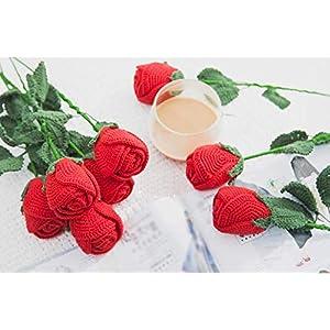 9pcs Handmade Amigurumi Sunflowers/Rose Bouquet Knit Crochet Artificial Flower for Home Decor (Red Rose) 7