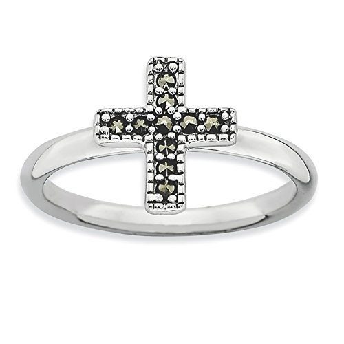 - Stackable Expressions Sterling Silver Simulated Marcasite Cross Silver Ring - Size 8