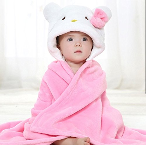 Stress Free Key Baby Hooded Blanket Towel - 6 Animals 6 Colors - Swaddle Fleece Blanket for Newborn Child - Good for Boys and Girls - Cute, wearable - Available in Pink, Yellow, White, Blue, Brown