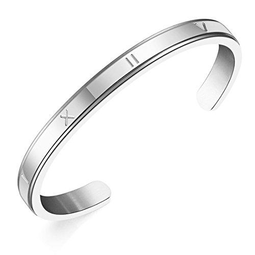 JJTZX Roman Numeral Bracelet Wedding Date Bridesmaid Cuff Bracelet Wedding Gift (Silver Roman Numeral)