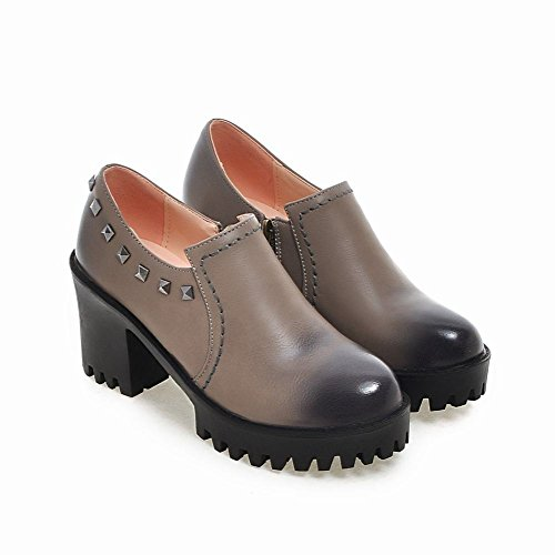 Shoes Heels High Gray Studded Block Slip Latasa On Womens RqSa00