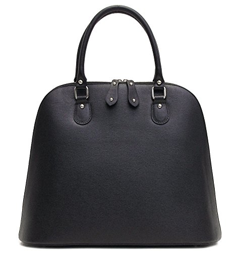 Floto Women's Ragazza Shoulder Handbag in Embossed Black Italian Calfskin Leather ()