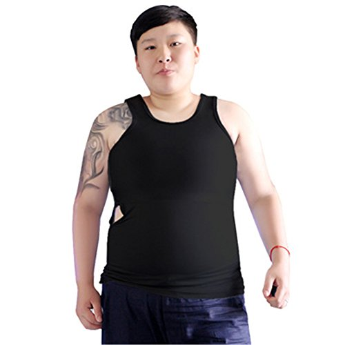 BaronHong Tomboy Trans Lesbian Bamboo Charcoal Fiber Chest Binder Corset Plus Size Long Tank Top(Black,6XL) (Fiber Charcoal)