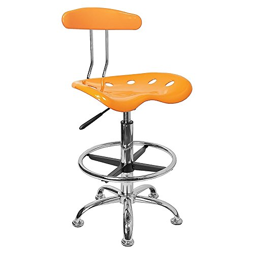 Offex Vibrant Drafting Stool with Tractor Seat, Orange, Yellow and Chrome