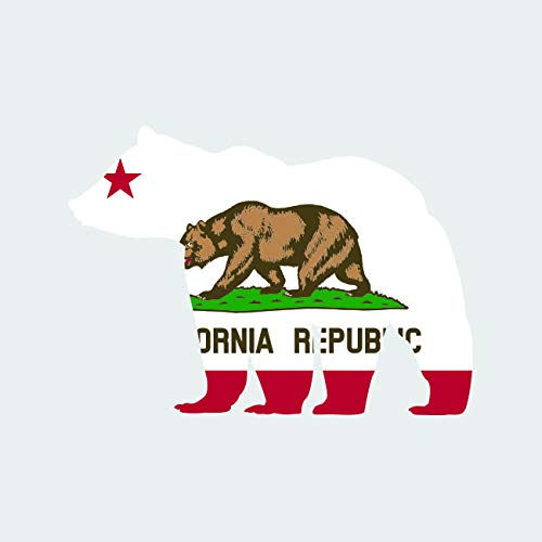 California State Shaped Bear Flag Sticker FA Graphix Vinyl Decal Die Cut Outdoors Wilderness CA - 1.25 Wide
