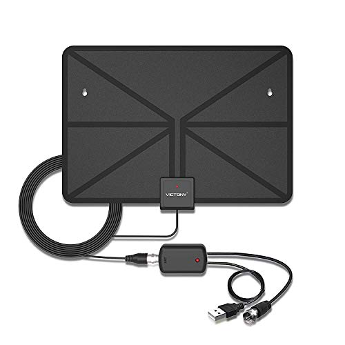 HDTV Antenna,VICTONY Indoor Amplified TV Antenna with Detachable Amplifier 50 Mile Range with Signal Booster for the Highest Performance,Extremely Soft Design and Lightweight (Black)