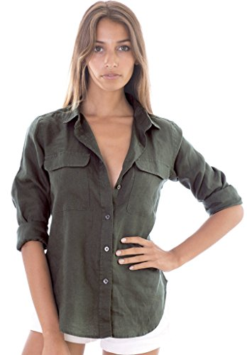 (CAMIXA Womens 100% Linen Button Down Shirt Casual Basic Blouse Pockets Loose Top XL Green)